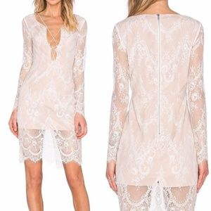 Stylestalker Lace-up Plunging Lace Dress